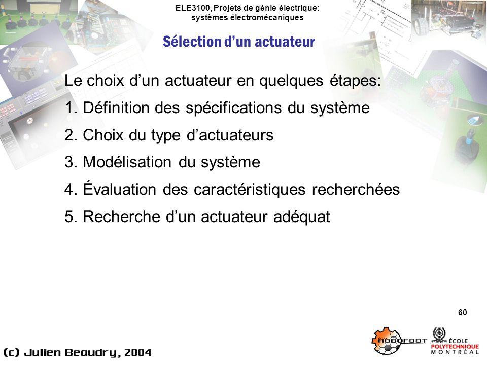 ELE3100, Projets de génie électrique: systèmes électromécaniques Sélection dun actuateur 60 Le choix dun actuateur en quelques étapes: 1.Définition de