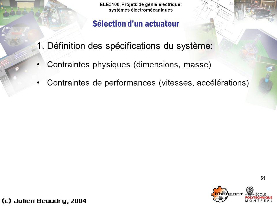 ELE3100, Projets de génie électrique: systèmes électromécaniques Sélection dun actuateur 61 1.Définition des spécifications du système: Contraintes ph