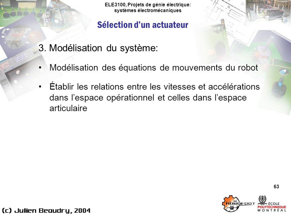 ELE3100, Projets de génie électrique: systèmes électromécaniques Sélection dun actuateur 63 3. Modélisation du système: Modélisation des équations de