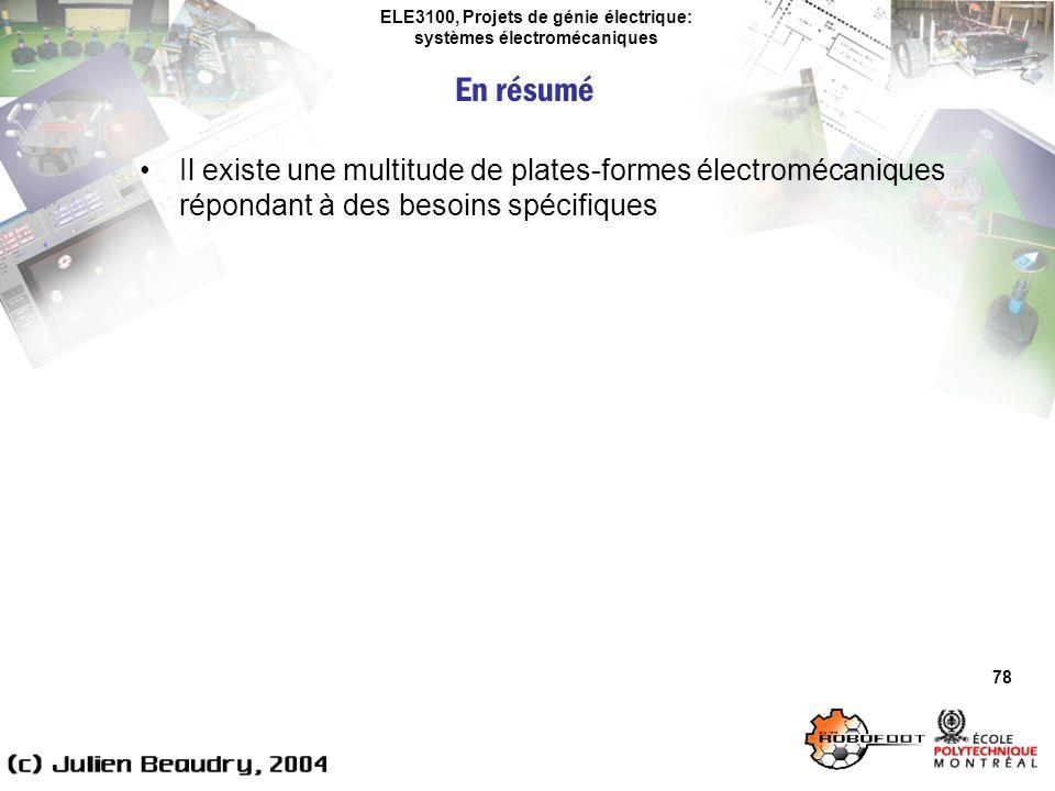 ELE3100, Projets de génie électrique: systèmes électromécaniques 78 Il existe une multitude de plates-formes électromécaniques répondant à des besoins