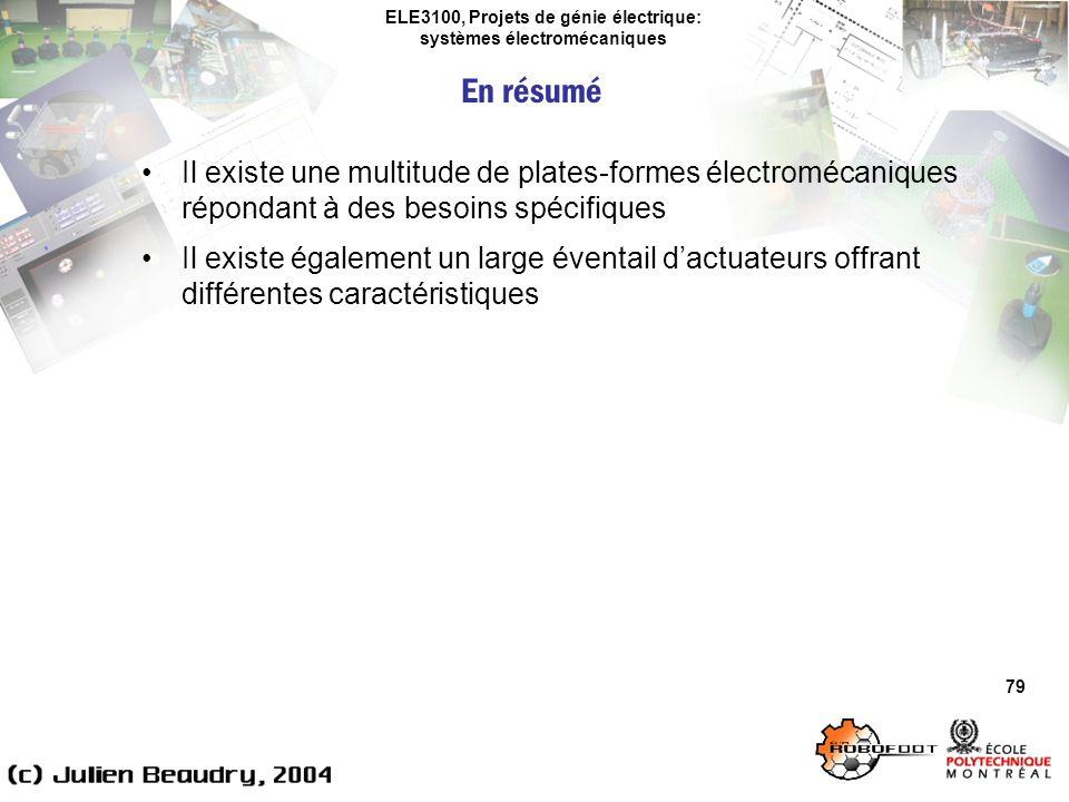 ELE3100, Projets de génie électrique: systèmes électromécaniques 79 Il existe une multitude de plates-formes électromécaniques répondant à des besoins