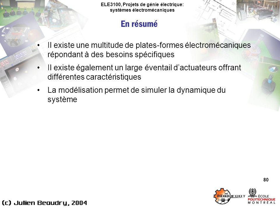 ELE3100, Projets de génie électrique: systèmes électromécaniques 80 Il existe une multitude de plates-formes électromécaniques répondant à des besoins