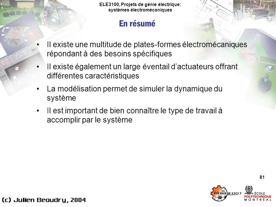 ELE3100, Projets de génie électrique: systèmes électromécaniques 81 Il existe une multitude de plates-formes électromécaniques répondant à des besoins