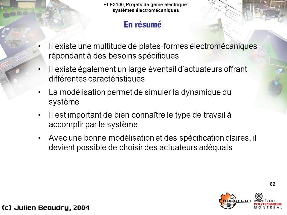 ELE3100, Projets de génie électrique: systèmes électromécaniques 82 Il existe une multitude de plates-formes électromécaniques répondant à des besoins