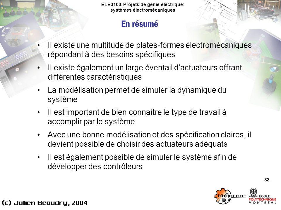 ELE3100, Projets de génie électrique: systèmes électromécaniques 83 Il existe une multitude de plates-formes électromécaniques répondant à des besoins