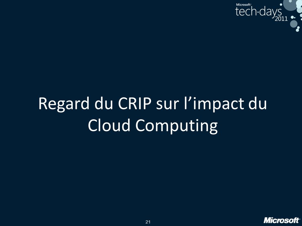 21 Regard du CRIP sur limpact du Cloud Computing