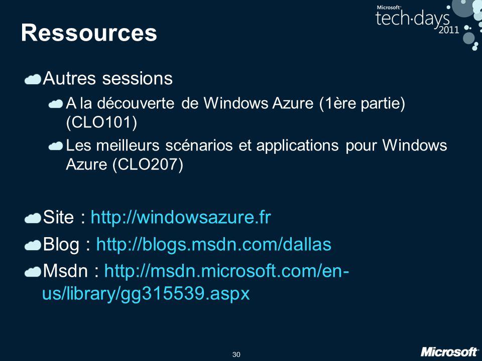 30 Ressources Autres sessions A la découverte de Windows Azure (1ère partie) (CLO101) Les meilleurs scénarios et applications pour Windows Azure (CLO2