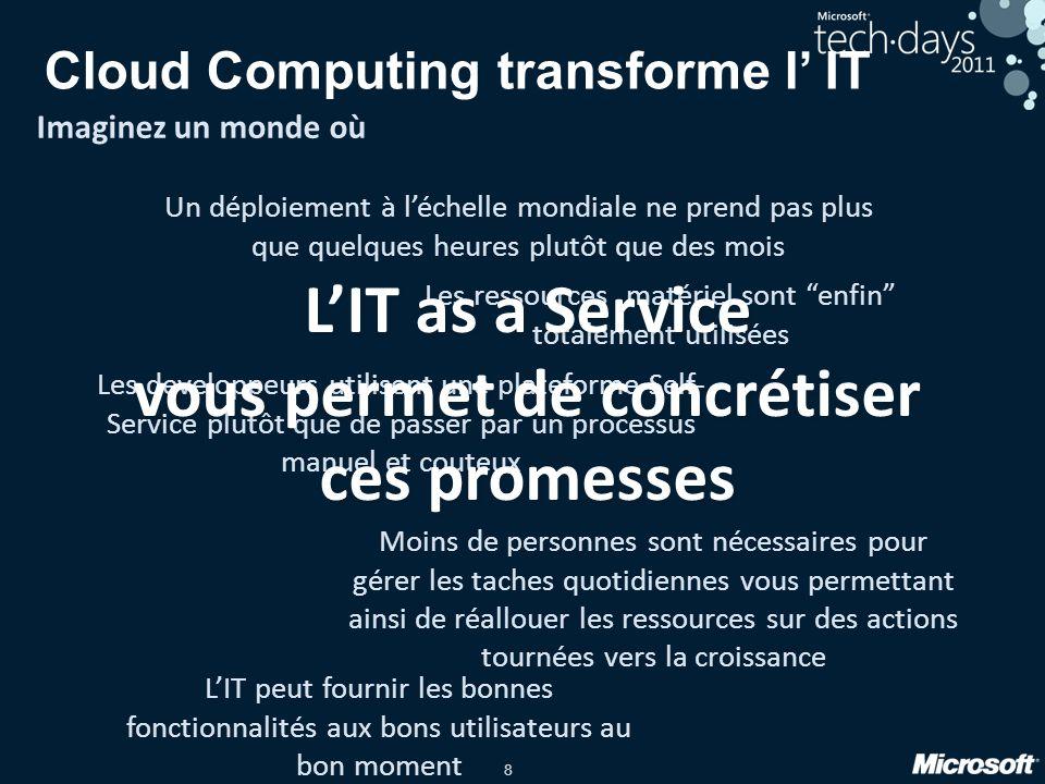 8 Cloud Computing transforme l IT Imaginez un monde où Un déploiement à léchelle mondiale ne prend pas plus que quelques heures plutôt que des mois Le