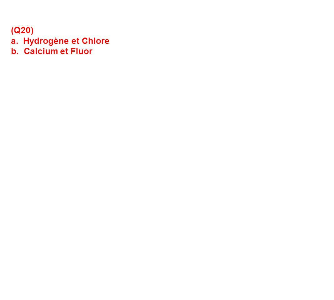 (Q20) a. Hydrogène et Chlore b. Calcium et Fluor