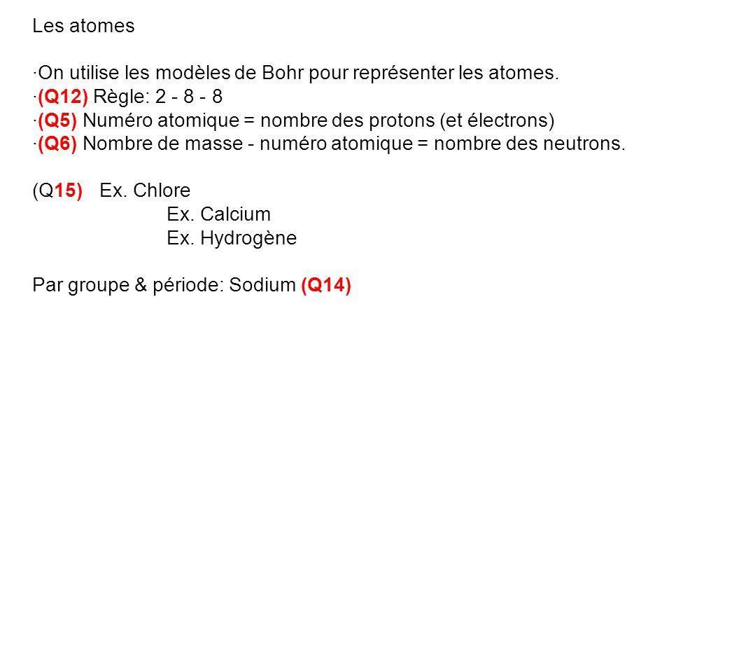 Les atomes ·On utilise les modèles de Bohr pour représenter les atomes. ·(Q12) Règle: 2 - 8 - 8 ·(Q5) Numéro atomique = nombre des protons (et électro