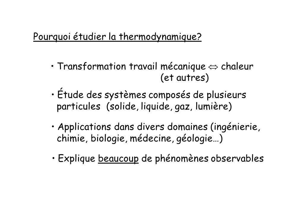 Pourquoi étudier la thermodynamique.