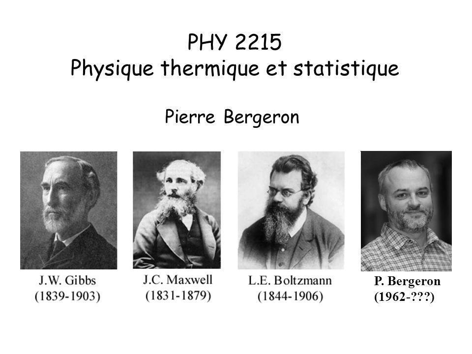 La thermodynamique statistique (nature statistique des systèmes thermodynamiques) quant à elle : i) permet de retrouver et dexpliquer tous les résultats classiques ii) permet dobtenir une foule de résultats additionnels directement à partir des propriétés microscopiques Thermodynamique et thermodynamique statistique