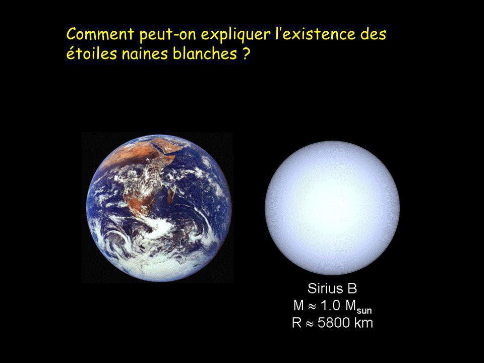 Comment peut-on expliquer lexistence des étoiles naines blanches ?