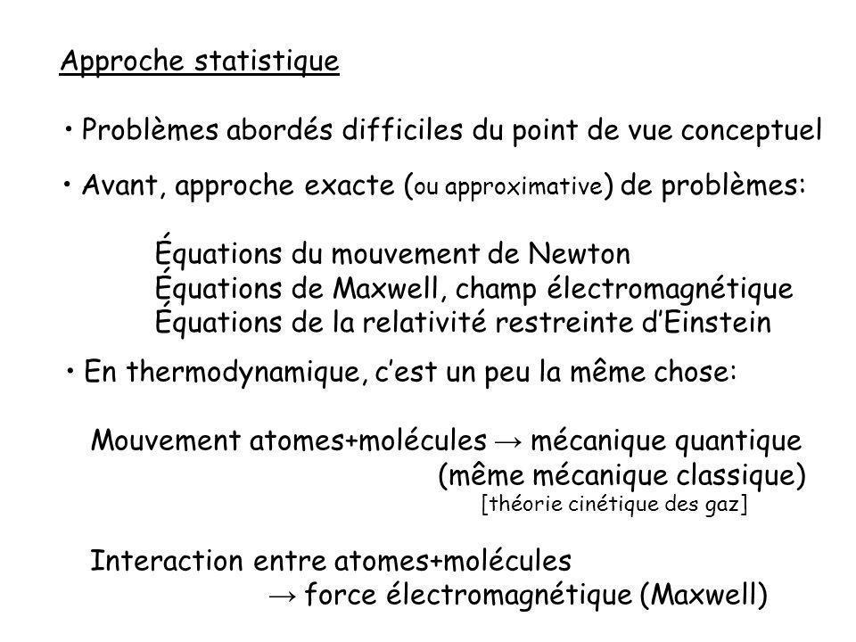 Approche statistique Problèmes abordés difficiles du point de vue conceptuel Avant, approche exacte ( ou approximative ) de problèmes: Équations du mouvement de Newton Équations de Maxwell, champ électromagnétique Équations de la relativité restreinte dEinstein En thermodynamique, cest un peu la même chose: Mouvement atomes+molécules mécanique quantique (même mécanique classique) [théorie cinétique des gaz] Interaction entre atomes+molécules force électromagnétique (Maxwell)