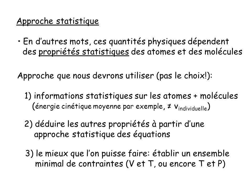 Approche statistique En dautres mots, ces quantités physiques dépendent des propriétés statistiques des atomes et des molécules Approche que nous devrons utiliser (pas le choix!): 1) informations statistiques sur les atomes + molécules ( énergie cinétique moyenne par exemple, v individuelle ) 2) déduire les autres propriétés à partir dune approche statistique des équations 3) le mieux que lon puisse faire: établir un ensemble minimal de contraintes (V et T, ou encore T et P)