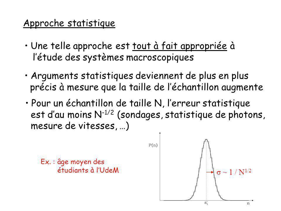 Approche statistique Une telle approche est tout à fait appropriée à létude des systèmes macroscopiques Arguments statistiques deviennent de plus en plus précis à mesure que la taille de léchantillon augmente Pour un échantillon de taille N, lerreur statistique est dau moins N -1/2 (sondages, statistique de photons, mesure de vitesses, …) σ ~ 1 / N 1/2 Ex.