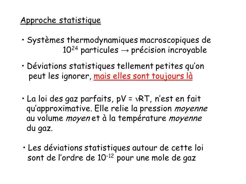 Approche statistique Systèmes thermodynamiques macroscopiques de 10 24 particules précision incroyable Déviations statistiques tellement petites quon peut les ignorer, mais elles sont toujours là La loi des gaz parfaits, pV = RT, nest en fait quapproximative.