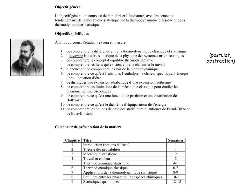 Ch.3 : Mécanique statistique Ch. 4 : Travail et chaleur Ch.