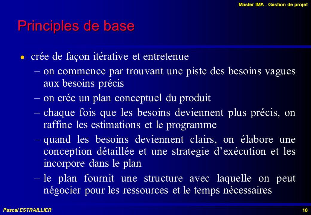 Master IMA - Gestion de projet Pascal ESTRAILLIER 10 Principles de base l crée de façon itérative et entretenue –on commence par trouvant une piste des besoins vagues aux besoins précis –on crée un plan conceptuel du produit –chaque fois que les besoins deviennent plus précis, on raffine les estimations et le programme –quand les besoins deviennent clairs, on élabore une conception détaillée et une strategie dexécution et les incorpore dans le plan –le plan fournit une structure avec laquelle on peut négocier pour les ressources et le temps nécessaires