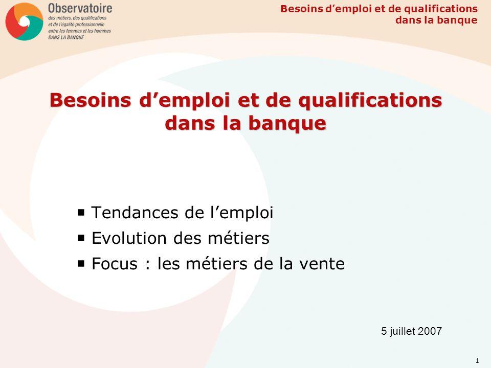 Besoins demploi et de qualifications dans la banque 1 Tendances de lemploi Evolution des métiers Focus : les métiers de la vente 5 juillet 2007