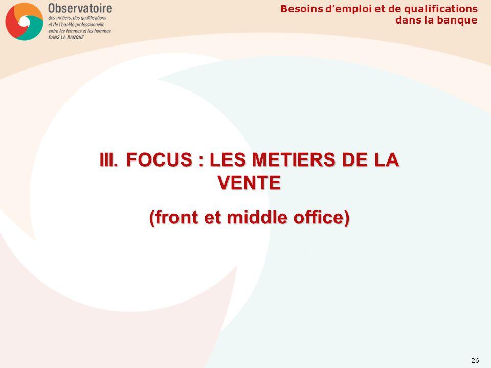 Besoins demploi et de qualifications dans la banque 26 III. FOCUS : LES METIERS DE LA VENTE (front et middle office)