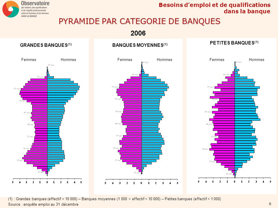 Besoins demploi et de qualifications dans la banque 6 PYRAMIDE PAR CATEGORIE DE BANQUES GRANDES BANQUES (1) PETITES BANQUES (1) 2006 BANQUES MOYENNES