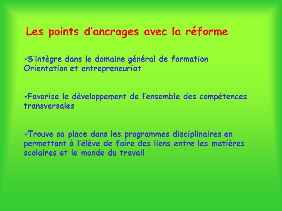 Les points dancrages avec la réforme Sintègre dans le domaine général de formation Orientation et entrepreneuriat Favorise le développement de lensemb