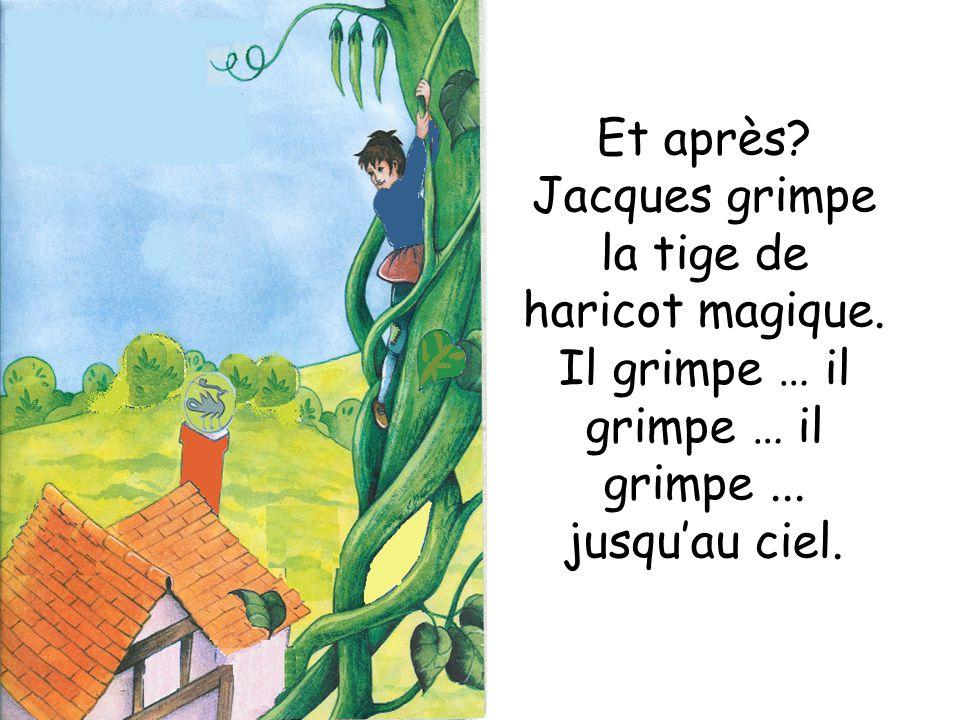 Et après? Jacques grimpe la tige de haricot magique. Il grimpe … il grimpe … il grimpe... jusquau ciel.