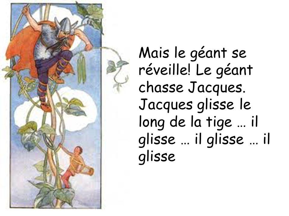 Mais le géant se réveille! Le géant chasse Jacques. Jacques glisse le long de la tige … il glisse … il glisse … il glisse
