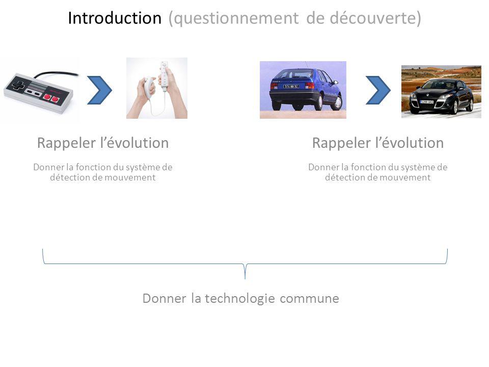 Introduction (questionnement de découverte) Rappeler lévolution Donner la fonction du système de détection de mouvement Donner la technologie commune