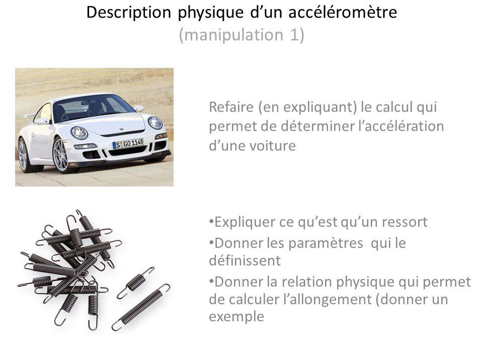 Description physique dun accéléromètre (manipulation 1) Refaire (en expliquant) le calcul qui permet de déterminer laccélération dune voiture Explique