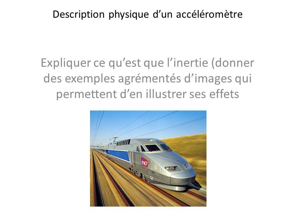 Description physique dun accéléromètre Expliquer ce quest que linertie (donner des exemples agrémentés dimages qui permettent den illustrer ses effets