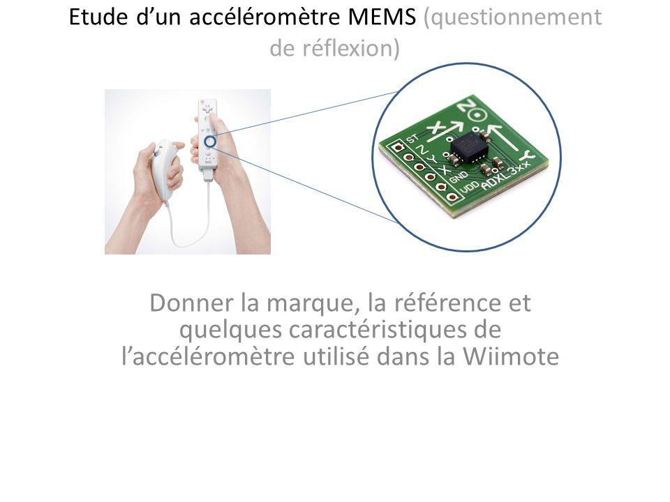 Etude dun accéléromètre MEMS (questionnement de réflexion) Donner la marque, la référence et quelques caractéristiques de laccéléromètre utilisé dans