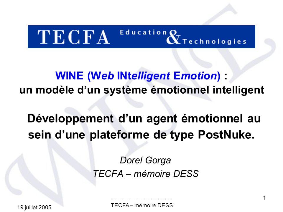 19 juillet 2005 --------------------------------- TECFA – mémoire DESS 2 WINE - introduction Objectifs –identifier létat émotionnel de létudiant selon sa personnalité et son activité dapprentissage dans lenvironnement –simuler ou représenter des émotions (développées dans un contexte des systèmes informatisés) –induire un état cognitif positif permettant de maximiser la performance de létudiant Méthodologie –Revue de littérature –Lanalyse des modèles démotions et des modèles dapprentissage basés sur lémotion –Conceptualisation dun modèle dun système émotionnel intelligent –Modélisation dun agent émotionnel animé dinterface –Limplémentation de lagent dans un module PostNuke ------------------------------------------------------------------------------------------------------