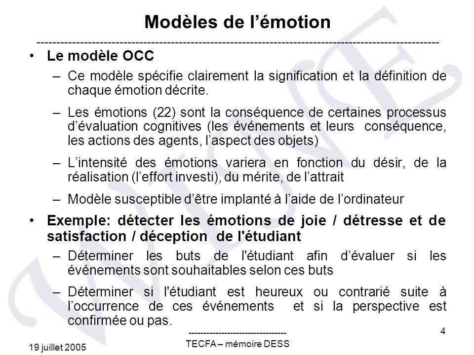 19 juillet 2005 --------------------------------- TECFA – mémoire DESS 4 Modèles de lémotion Le modèle OCC –Ce modèle spécifie clairement la signification et la définition de chaque émotion décrite.