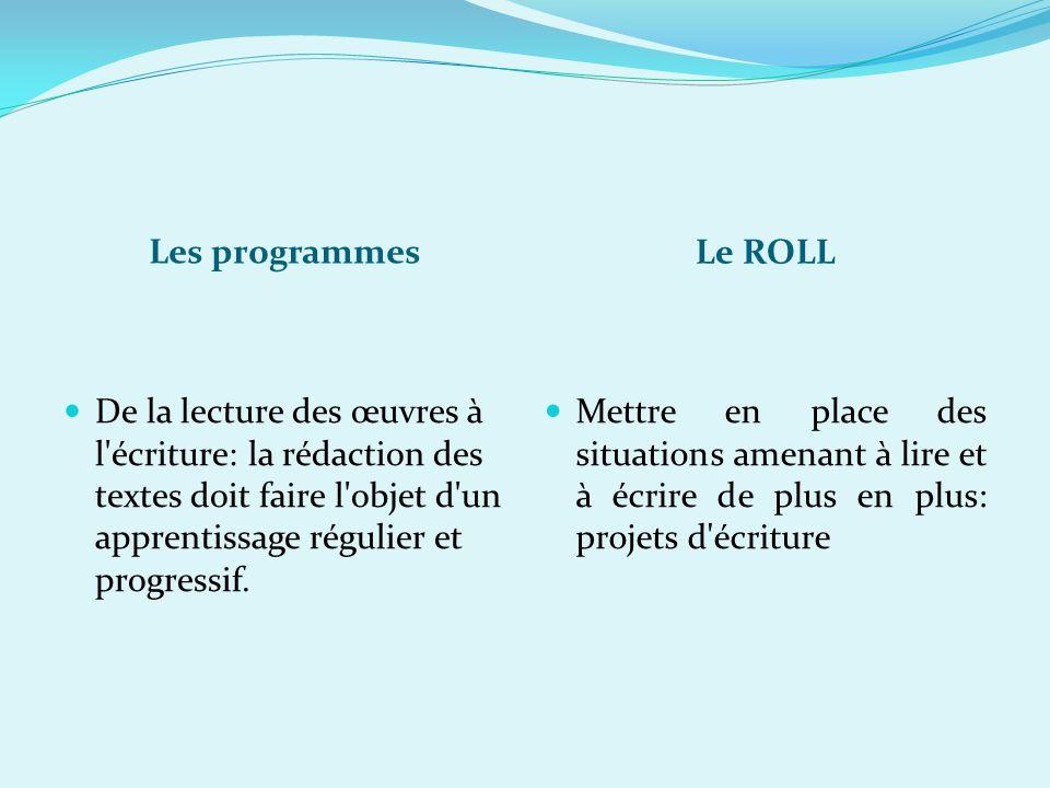 Les programmes Le ROLL De la lecture des œuvres à l'écriture: la rédaction des textes doit faire l'objet d'un apprentissage régulier et progressif. Me