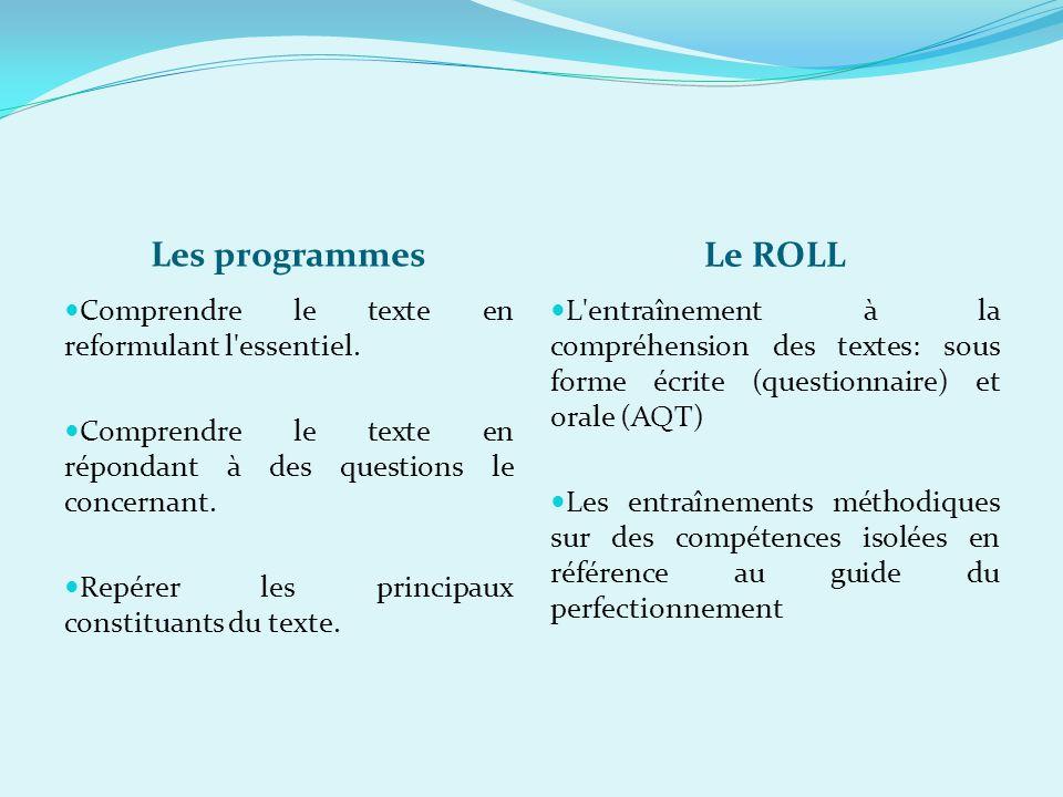Les programmes Le ROLL Comprendre le texte en reformulant l'essentiel. Comprendre le texte en répondant à des questions le concernant. Repérer les pri