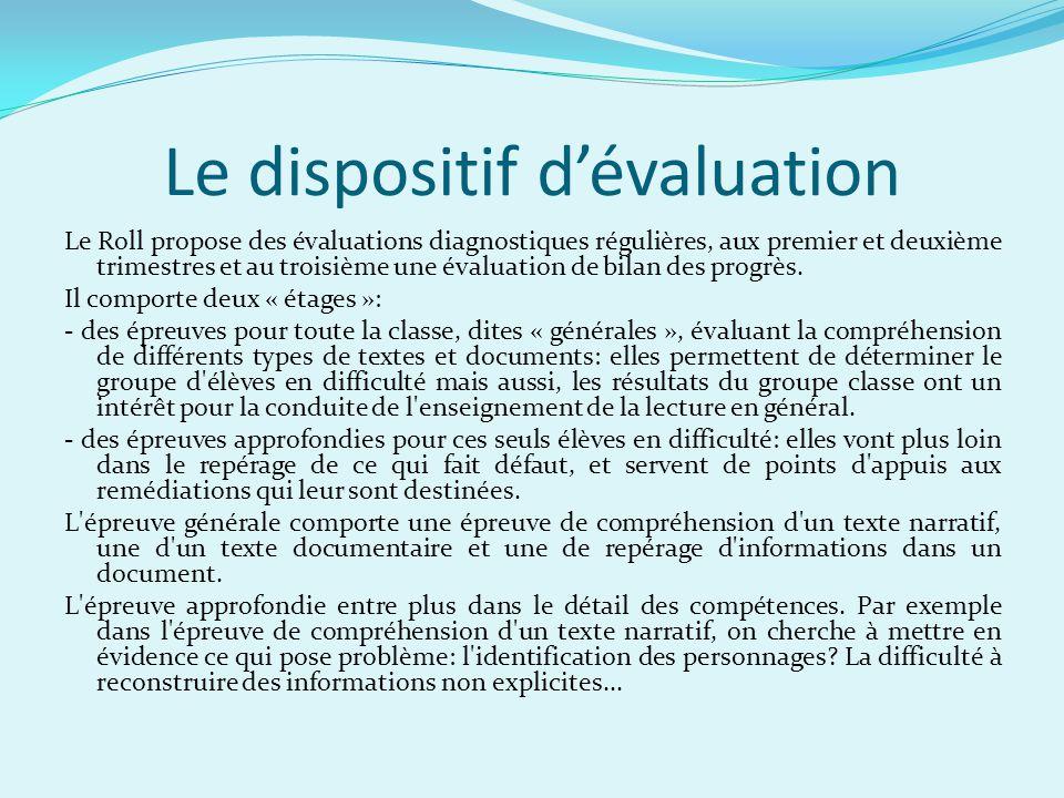 Le dispositif dévaluation Le Roll propose des évaluations diagnostiques régulières, aux premier et deuxième trimestres et au troisième une évaluation
