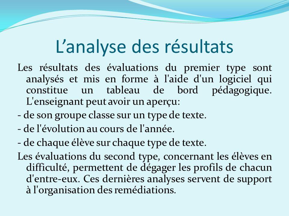 Lanalyse des résultats Les résultats des évaluations du premier type sont analysés et mis en forme à l aide d un logiciel qui constitue un tableau de bord pédagogique.
