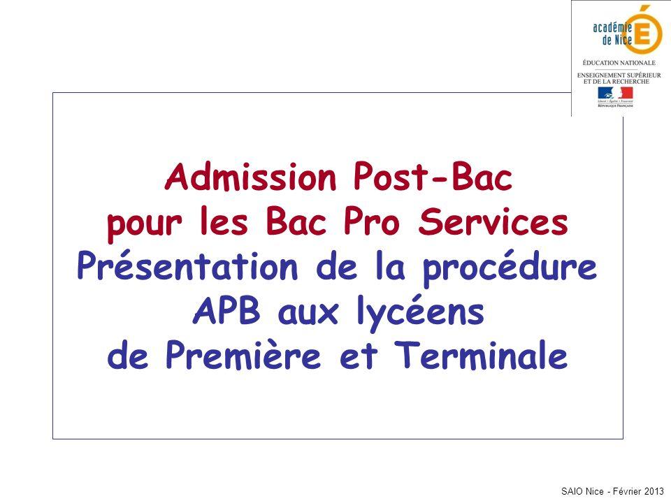 SAIO Nice - Février 2013 Admission Post-Bac pour les Bac Pro Services Présentation de la procédure APB aux lycéens de Première et Terminale