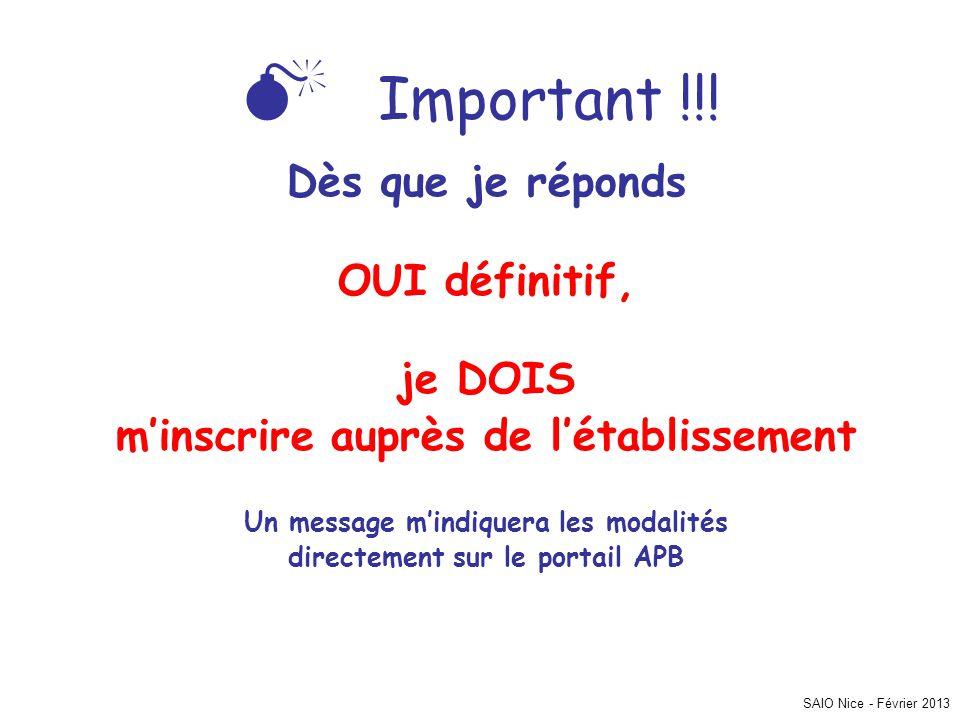 SAIO Nice - Février 2013 Important !!! Dès que je réponds OUI définitif, je DOIS minscrire auprès de létablissement Un message mindiquera les modalité