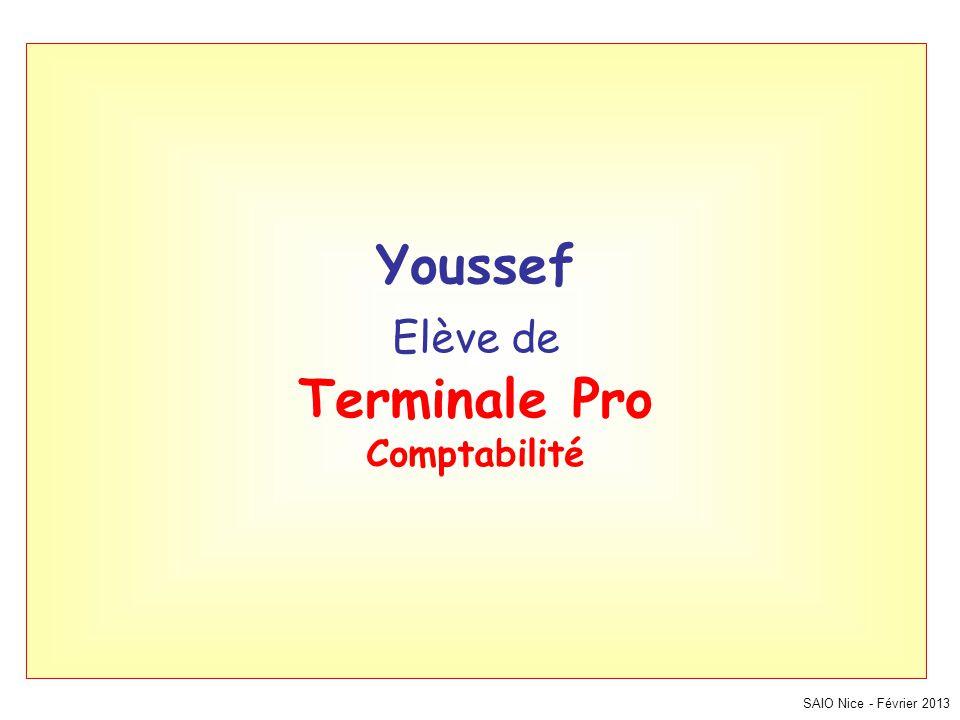 SAIO Nice - Février 2013 Youssef Elève de Terminale Pro Comptabilité