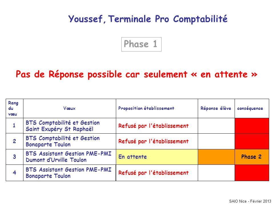SAIO Nice - Février 2013 Youssef, Terminale Pro Comptabilité Phase 2 Refusé par l'établissement BTS Assistant Gestion PME-PMI Bonaparte Toulon 4 En at