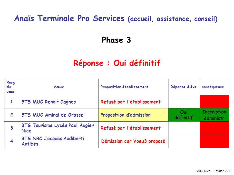 SAIO Nice - Février 2013 Anaïs Terminale Pro Services (accueil, assistance, conseil) Inscription administr Démission car Voeu3 proposé BTS NRC Jacques