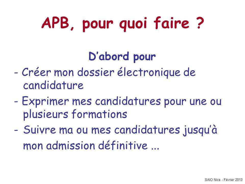 SAIO Nice - Février 2013 APB, pour quoi faire ? Dabord pour - Créer mon dossier électronique de candidature - Exprimer mes candidatures pour une ou pl