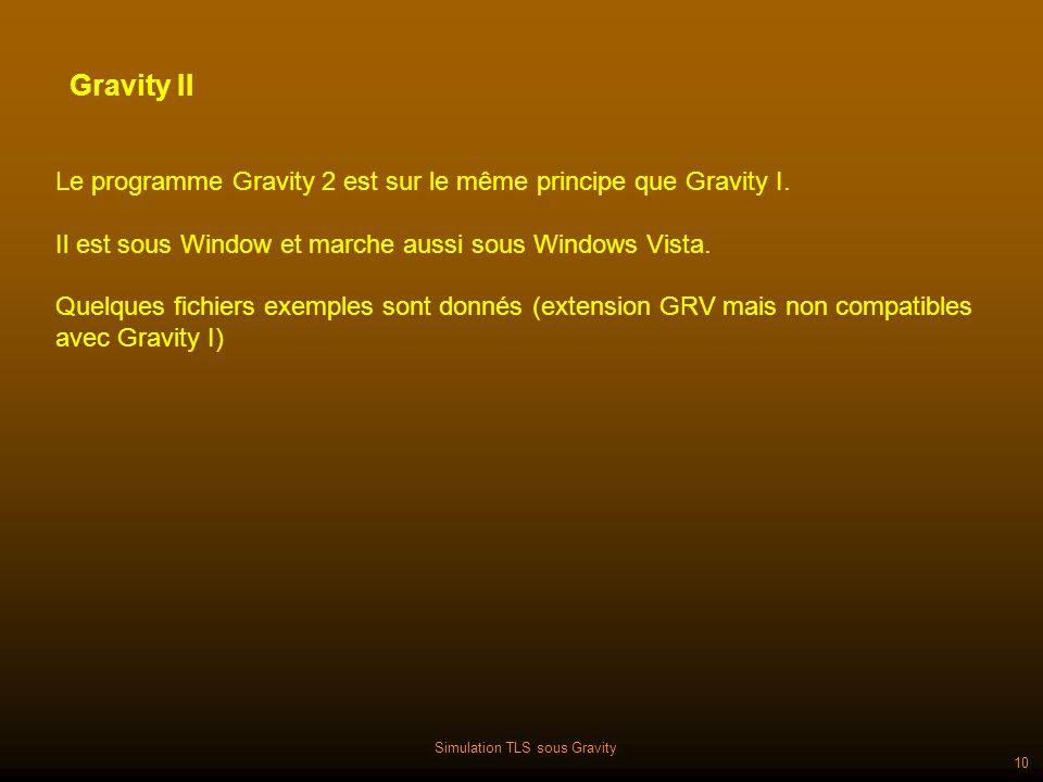 Simulation TLS sous Gravity 10 Le programme Gravity 2 est sur le même principe que Gravity I.