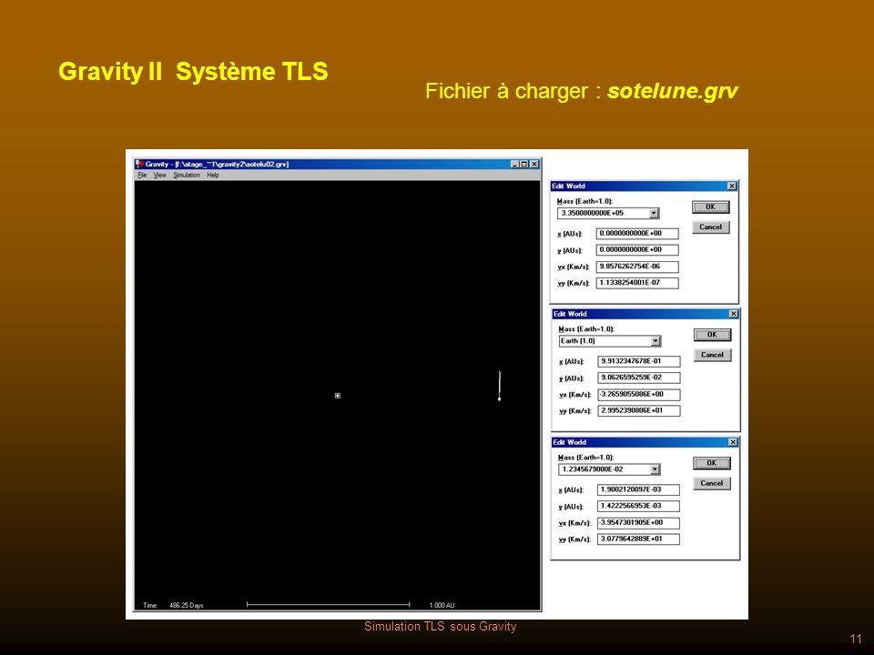 Simulation TLS sous Gravity 11 Fichier à charger : sotelune.grv Gravity II Système TLS