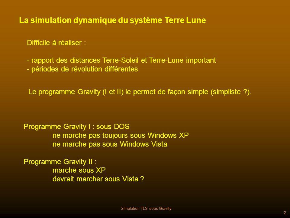 Simulation TLS sous Gravity 2 Programme Gravity I : sous DOS ne marche pas toujours sous Windows XP ne marche pas sous Windows Vista Programme Gravity II : marche sous XP devrait marcher sous Vista .