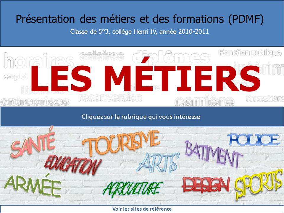 Présentation des métiers et des formations (PDMF) Classe de 5°3, collège Henri IV, année 2010-2011 LES MÉTIERS Cliquez sur la rubrique qui vous intére