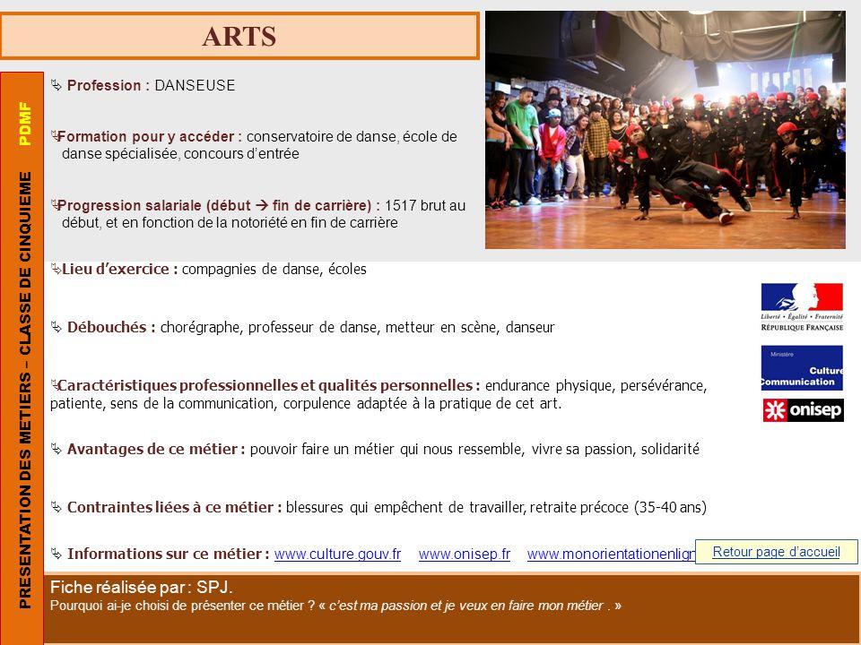 ARTS Profession : DANSEUSE Formation pour y accéder : conservatoire de danse, école de danse spécialisée, concours dentrée Progression salariale (débu